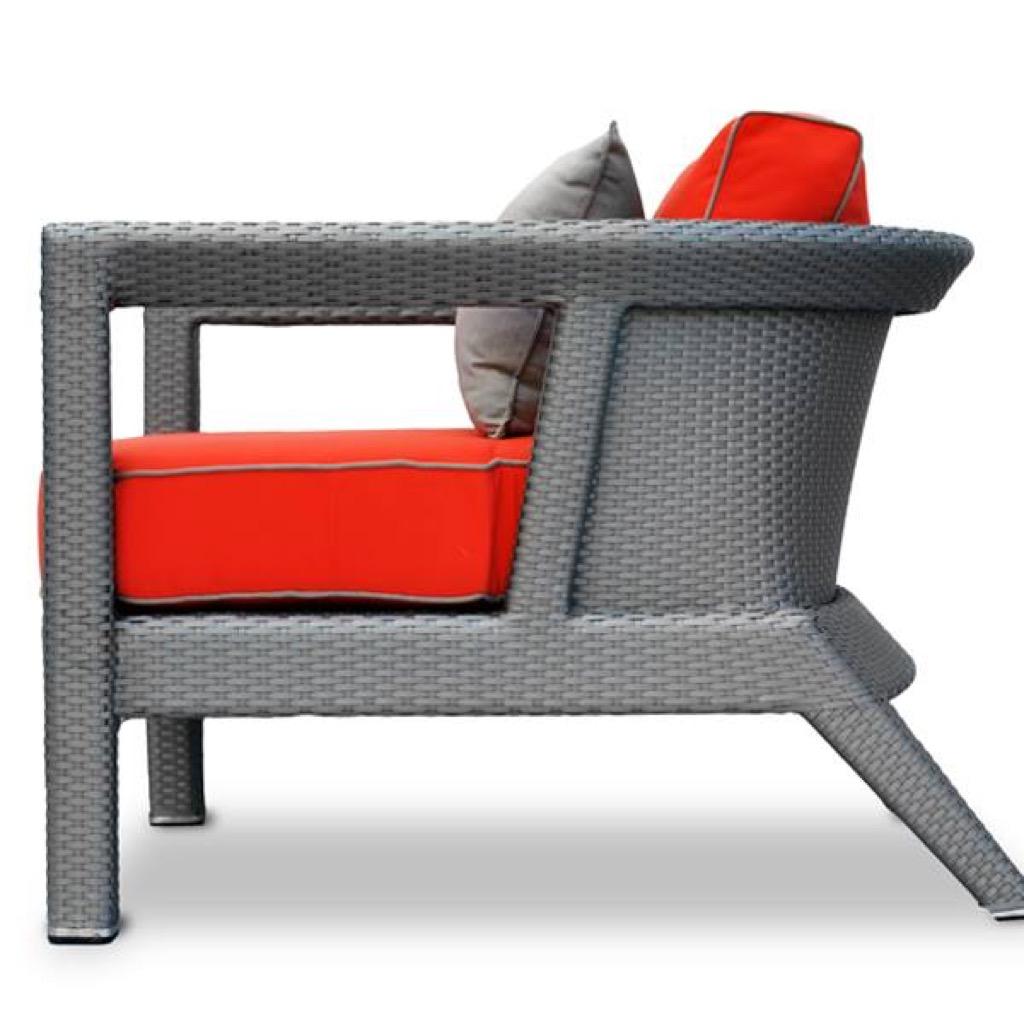 South Beach Chair In Silver U0026 Red